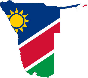 Namibia country outline and colours flag