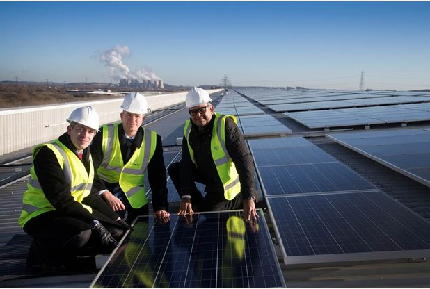 The installation of the UK's largest single roof mounted solar panel array on its distribution centre