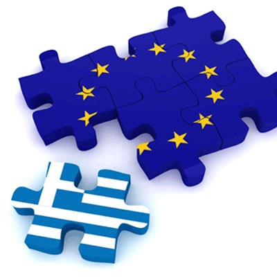 Greek and EU flag jigsaw pieces