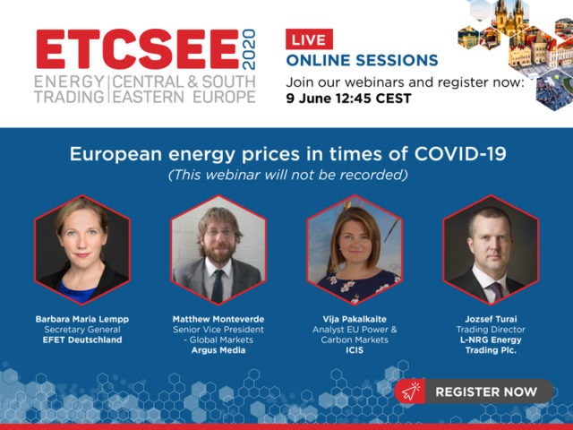 Webcast: European energy prices in times of COVID-19